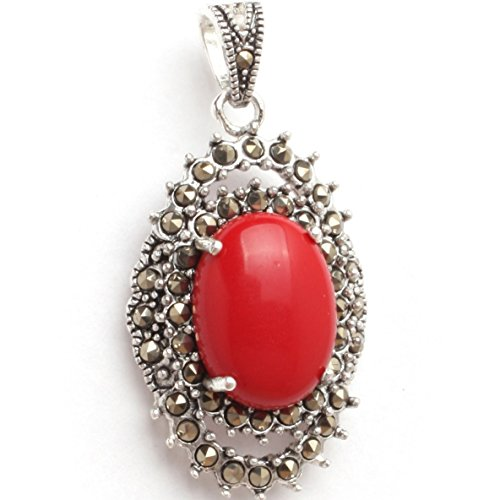 GEM-inside 20x40mm Oval Manmade Red Coral Beads Marcasite Tibetan Silver (Red Coral Oval Pendant)