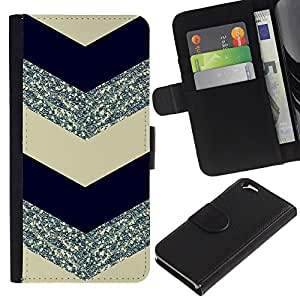 KLONGSHOP // Tirón de la caja Cartera de cuero con ranuras para tarjetas - chevron negro patrón de plata - Apple Iphone 6 //