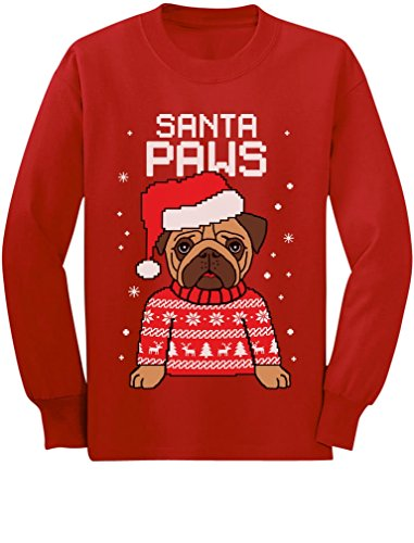 Santa Paws Pug Ugly Christmas Sweater Dog Youth Kids Long Sleeve T-Shirt Small Red