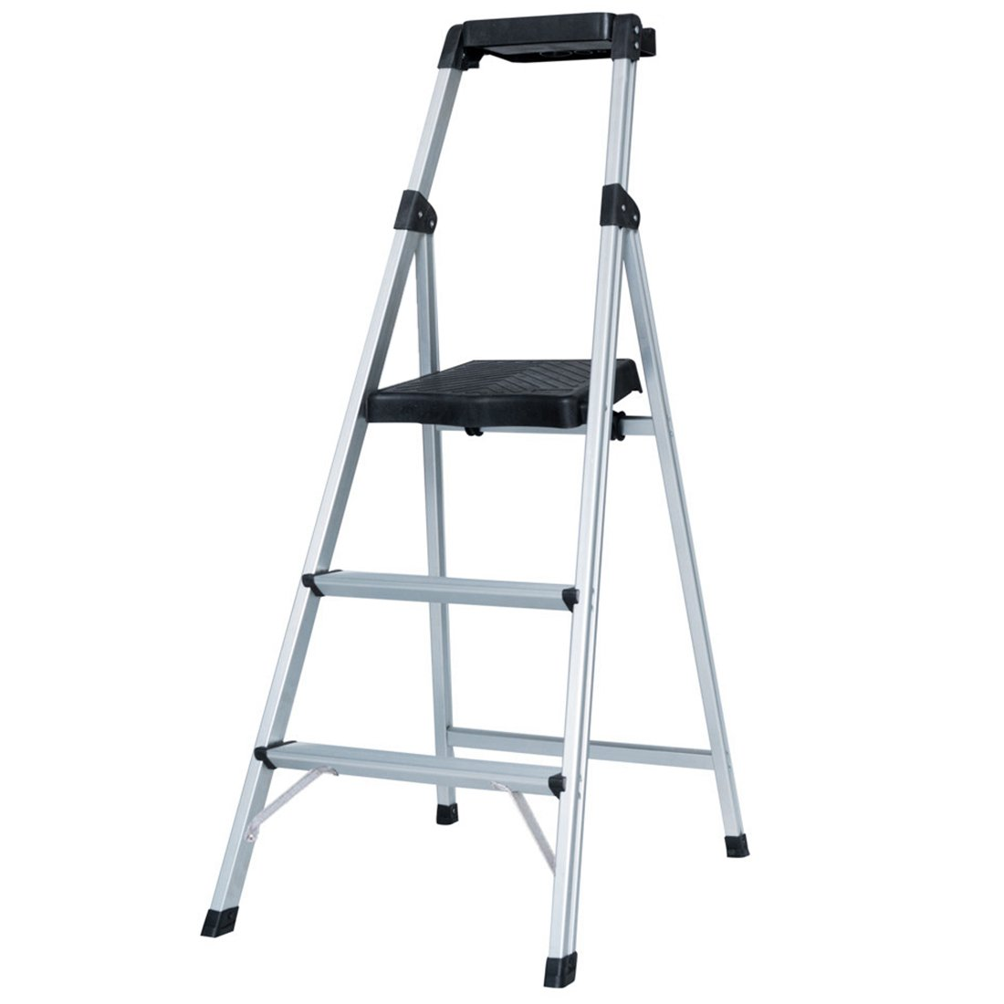 GOODLIFE Folding Home Depot 3 Step Ladder Ultra Lightweight Aluminum Step Stool with Project Tray 300 LB Capacity HMI095