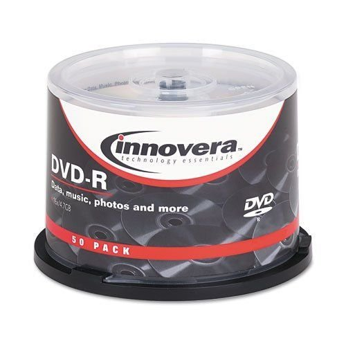 Innovera 46850 DVD-R 4.7GB 16X Discs with Spindle, Silver, 50 per Pack