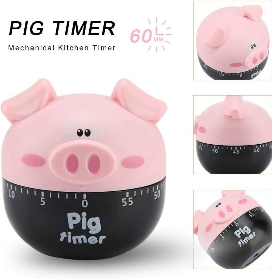 Rosa Cute Cartoon Pig Kitchen Timer Timers Mec/ánicos Contadores para Cocinar Herramienta de Tiempo Kitchen Timer Mini Timer 55 Minutos Cuenta Atr/ás
