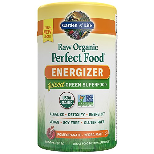 Garden of Life Raw Organic Perfect Food Energizer Juiced Green Superfood Greens Powder - Yerba Mate, Pomegranate, 30 Servings - Vegan Gluten Free Whole Food Dietary Supplement, Plus Probiotics