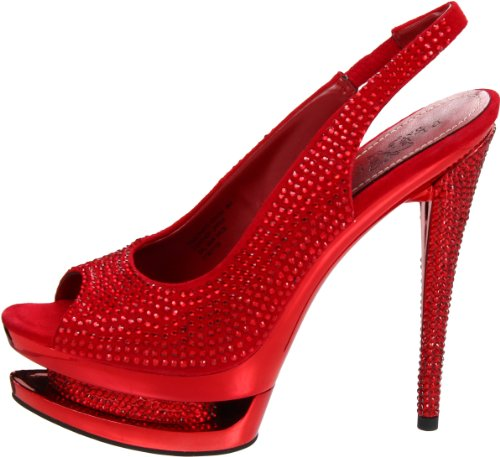 Pleaser Day & Night - Sandalias mujer Red Suede/Red Chrome