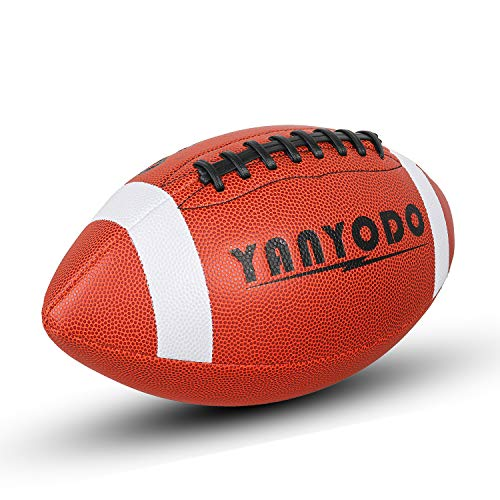 YANYODO Official Size 9 Footballs, Super Grip Composite Football Training & Recreation Play, Microfiber Leather Cover for Youth League College High School (Black Lace)