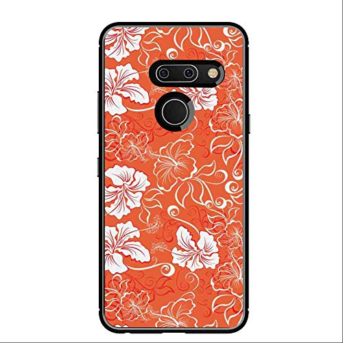Cell Phone Case Compatible LG G8 ThinQ [6.1inch] Burnt Orange Hawaiian Hibiscus Pattern with Swirls and Curves on Background Burnt Orange and White
