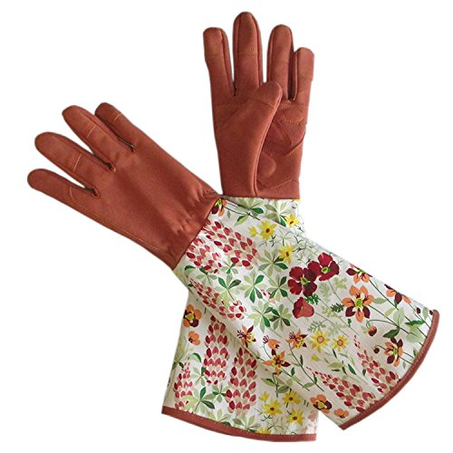 Leather Rose Gardening Gloves Thorn Proof Pruning Gloves with Long Polyester Print Cuff to Protect Your Arms Until the Elbow YLST01