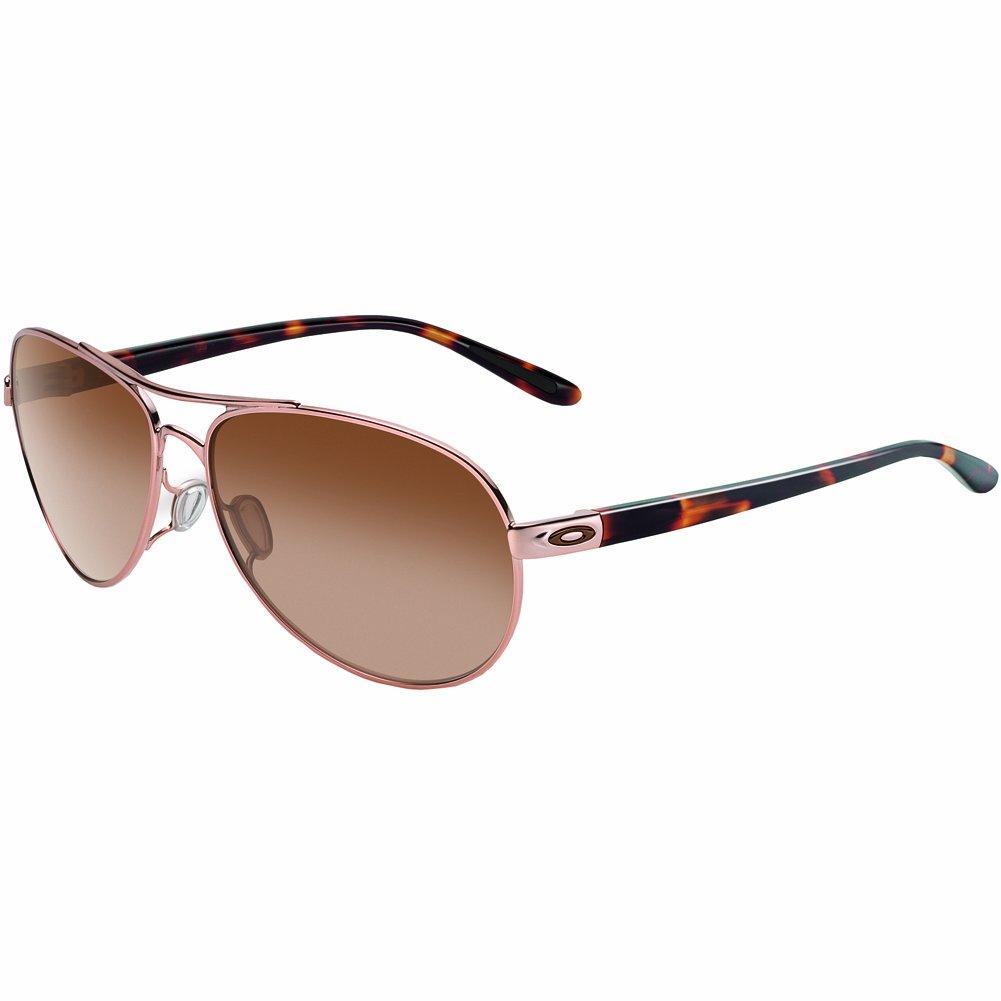 Oakley Women's OO4079 Feedback Aviator Metal Sunglasses, Rose Gold/Vr50 Brown Gradient, 59 mm by Oakley
