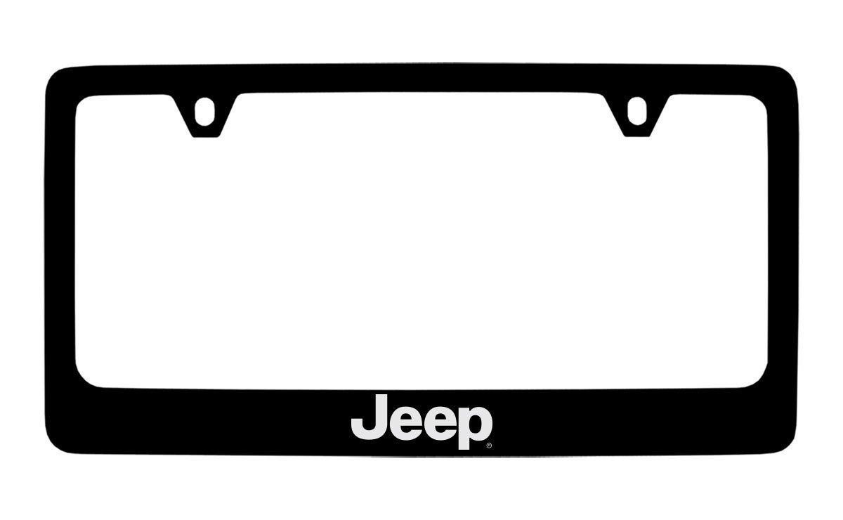 Jeep Logo Black Metal license Plate Frame Holder