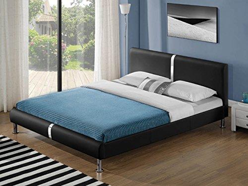 ZEARO Polsterbett Kunstlederbett Doppelbett Ehebett Bett Mit Lattenrost Kopfteil schwarz