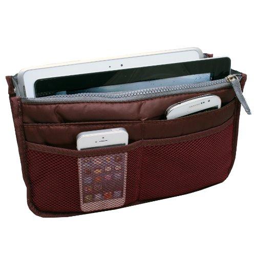 Women Travel Insert Handbag Organiser Purse Large liner Organizer Tidy Bag - Wine