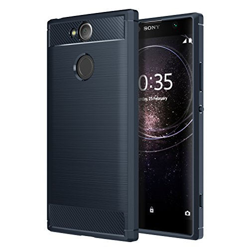 Sony Xperia XA2 Phone Case, MoKo Soft Lightweight TPU Bumper Cover Carbon Fiber Design Anti-Scratch Slim Back Panel Shock Aborsption Cellphone Shell for Sony Xperia XA2 5.2 Inch, Indigo