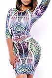 Sexy Hip Hop Illuminati Hypnotic Form-Fitting Mini-Dress (L, Illuminati Hypnotic Pattern Print Design)