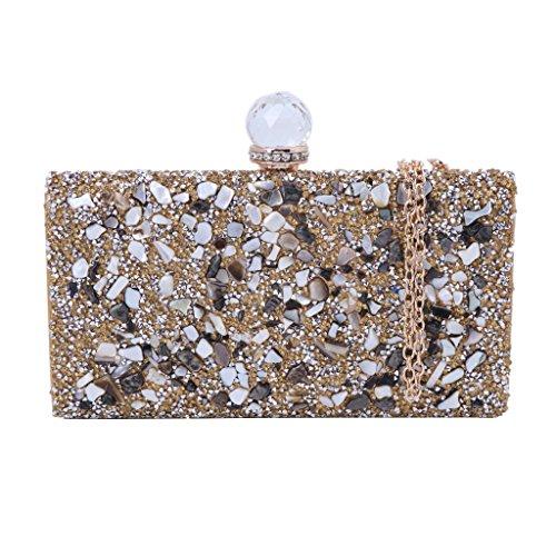 Evening Gold Womens Elegant Gold Rhinestone Handbag Bridal Clutch Purse Clutch JAGENIE Prom SqxP4dwgS