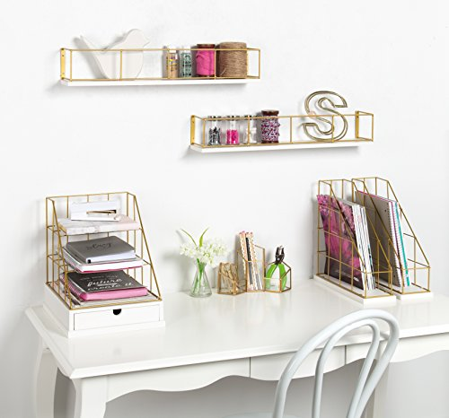 Kate and Laurel Benbrook Metal and Wood Magazine File Holder Desk Organizers, Set of 2, White and Gold by Kate and Laurel (Image #4)