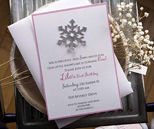Winter Onederland Invitations, Winter Wonderland Invitation, Pink and Gold invitations Winter Party Invitation with Gold Glitter Snowflake ()