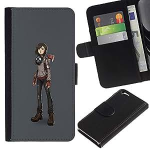 All Phone Most Case / Oferta Especial Cáscara Funda de cuero Monedero Cubierta de proteccion Caso / Wallet Case for Apple Iphone 6 // Macho Girl Futuristic Art Drawing Anime Mask