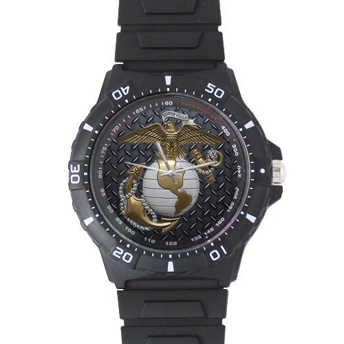 Marines Personalized Gifts - Fathers/Husbands/Sons Gifts USMC Marine Corps Black Plastic High Quality Watch