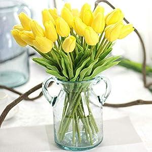 CQURE Artificial Flowers,Fake Flowers Bouquet Silk Tulip Real Touch Bridal Wedding Bouquet for Home Garden Party Floral Decor 10 Pcs(Yellow) 12
