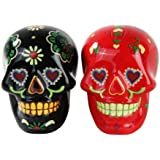 1 X Day of Dead Sugar Black & Red Skulls Salt & Pepper Shakers Set- Skulls Collection