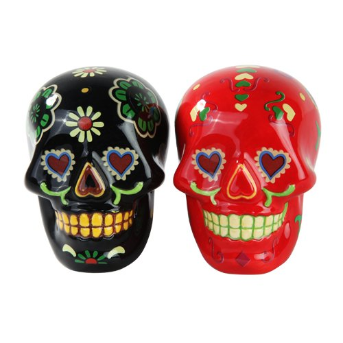 (1 X Day of Dead Sugar Black & Red Skulls Salt & Pepper Shakers Set- Skulls Collection)