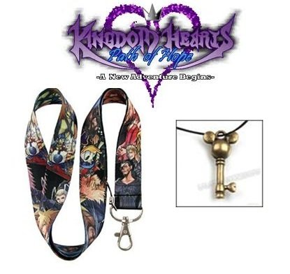Kingdom Hearts II Disney Anime Cell Phone, MP3, ID, Keychain Black Lanyard Strap w/King Mickey Bronze Keyblade Jewelry Pendant