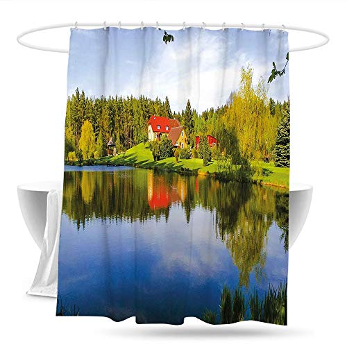 youLookme Shower Curtain with Hooks LandscapeHouse in Forest Riverside Water Reflection Trees Outdoors Autumn Season Image Fabric Shower Curtain Bathroom 59in×70in Multicolor