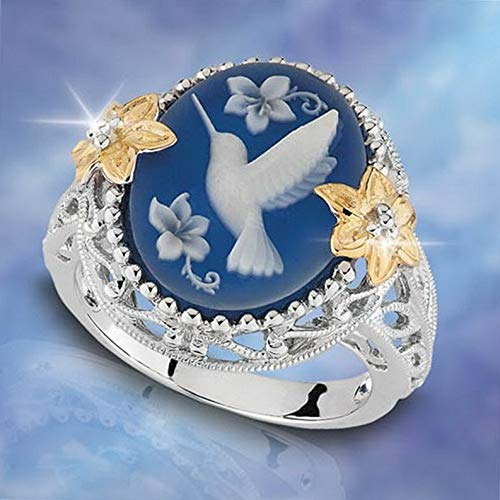 Rhame Women Jewelry White Gold Plated Hummingbird Blue Gemstone Engagement Ring 6-10 | Model RNG - 21648 | 6 (Best Humbuckers For Blues)
