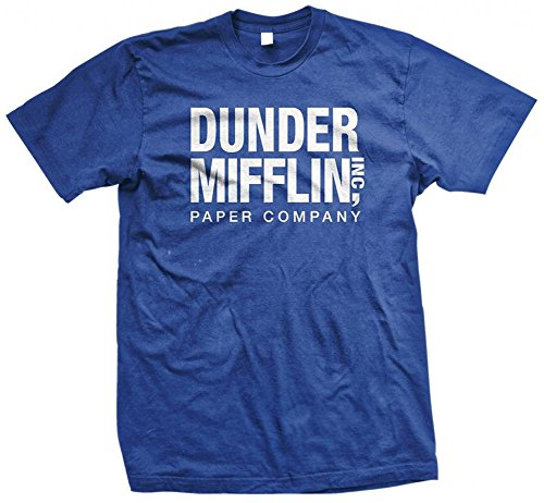 (Dunder Mifflin Paper Inc T-Shirt, The Office T-Shirts, TV Show T-Shirts, Royal, L, Royal Blue)
