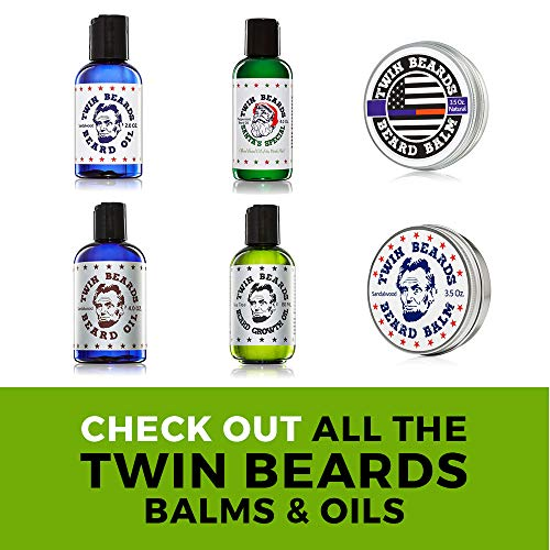 Twin Beards Santa's Special Peppermint Beard Oil | Vitamin E for Healthy Skin | Conditions & Strengthens for a Softer & Thicker Beard | Jojoba Oil | 4 oz