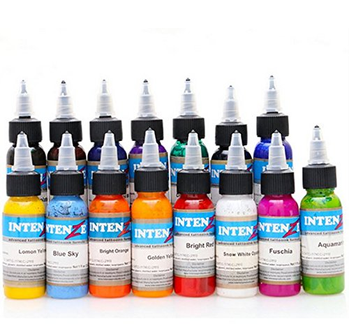 New 14pcs tattoo ink set permanent makeup art pigment 30ml tattoo paint for eyebrow eyeliner lip body total 14 colors OUXINLI