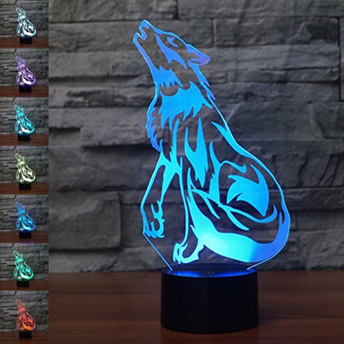 Christmas Gift Wolf 3D Illusion Birthday Present Beside Table Lamp, Gawell 7 Color Changing Touch Switch Decoration Night Light with Acrylic Flat & ABS Base & USB Cable Wolf Lover ()