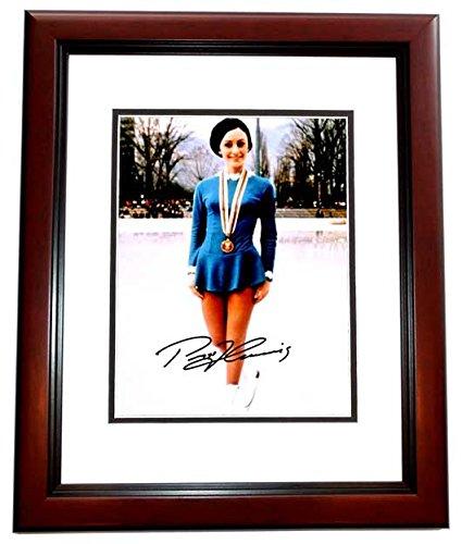 (Peggy Fleming Signed - Autographed Figure Skating 8x10 inch Photo MAHOGANY CUSTOM FRAME )