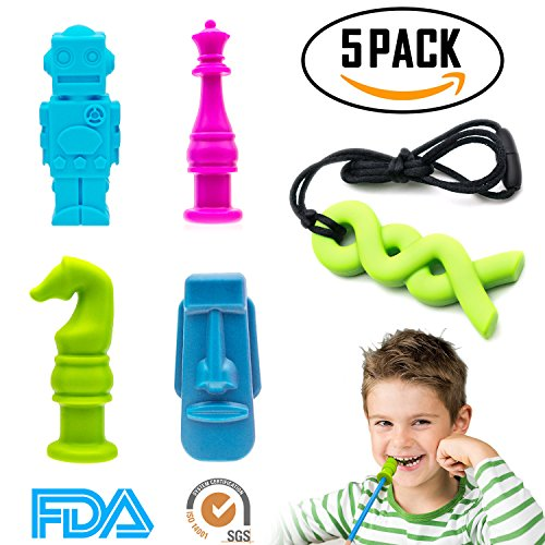 ELifeBox 5 PCS Sensory Chew Necklace/Pencil Topper Set, FDA-approved Silicone Chew Toys for Autism, Biting, Teething, ADHD, SPD, Oral Motor Children, Kids, Boys, and Girls by ELifeBox