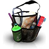 """Mesh Shower Caddy + Large Comb. All-black Unisex Portable Hanging Mesh Quick Dry Shower Caddy with Handle, And One 8.5"""" Plastic Hair Comb with Two Side Tooth, by BlueSkyBos (All-black, 6"""" X 6"""" X 9"""")"""