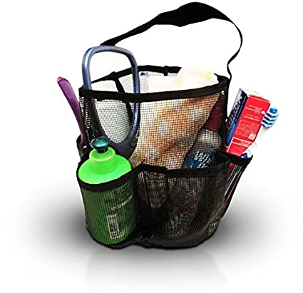 Mesh Shower Caddy + Large Comb. All Black Unisex Portable Hanging Mesh  Quick Dry