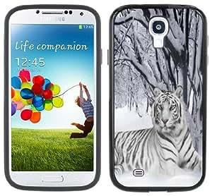 White Tiger Snow Samsung Galaxy S4 Black Bumper Hard Plastic Case
