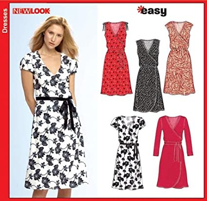 Amazon.com: New Look 6697 Sewing Pattern Misses Knit Wrap Dress Size ...