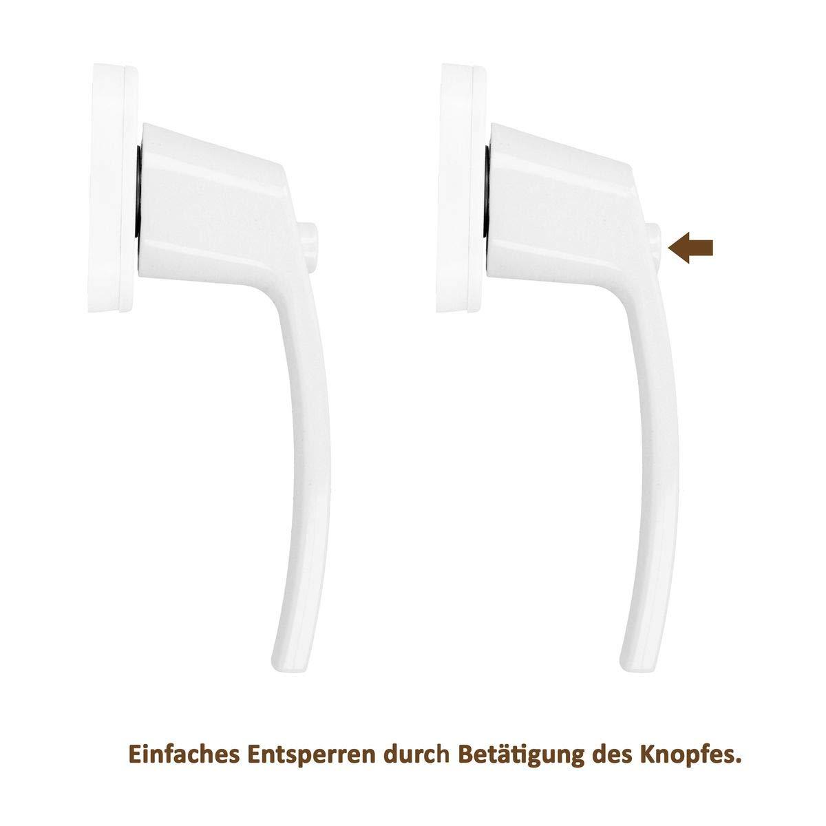 Premium Aluminium Fenstergriff verriegelbar /über Druckknopf in Wei/ß Stiftl/änge 35mm