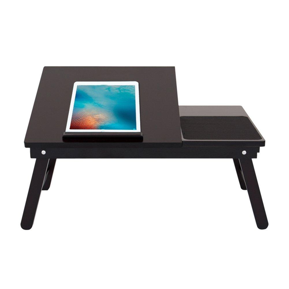 折り畳みテーブル& 竹ノートパソコンのテーブル家庭の寮の部屋のベッドを使用して小さなデスクオフィスを学ぶゲーム、マルチユース、ツールレスのアセンブリ (色 : ブラック) B07DYQ4G25 ブラック ブラック