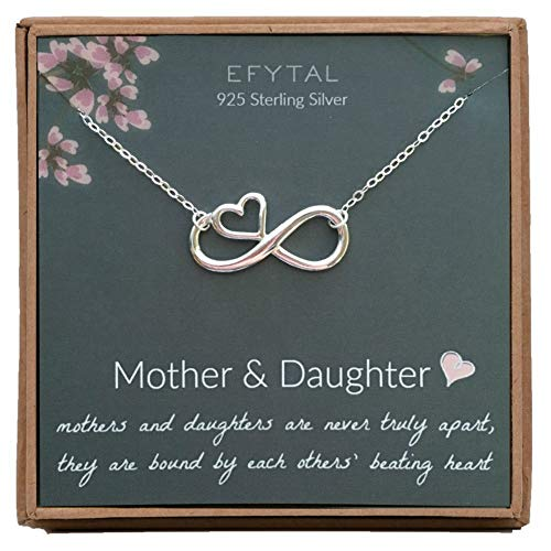 EFYTAL Mothers Day Mom Gifts, 925 Sterling Silver Infinity with Heart Necklace for Mother & Daughter, Mom Necklaces for Women, Best Birthday Gift Ideas, Pendant Mother's Day Jewelry For Her -