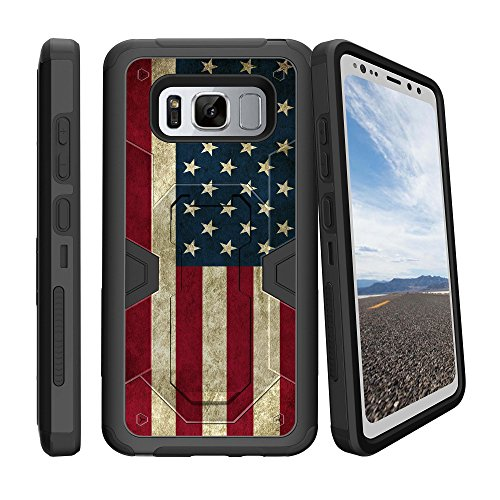 MINITURTLE Flag Case Compatible with Samsung Galaxy S8 ACTIVE [Not for S8] Rugged Swivel Holster Case - Rustic USA American Flag