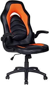 Polar Aurora Office Chair Leather Desk High Back Ergonomic Adjustable Racing Chair Task Swivel Executive Computer Chair (Orange)