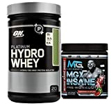 Platinum Hydrowhey by Optimum Nutrition Whey Protein Isolates Powder, 1.75lb, Chocolate Mint + MGX Insane Pre-Workout Energy & Endurances booster, 438 Grams Watermelon