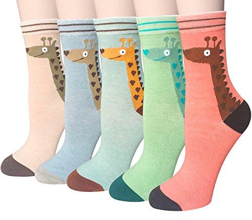 Chalier 5 Pairs Womens Cotton Socks Crew Socks For Women Girls Ladies Socks Fs Giraffe  Free Size