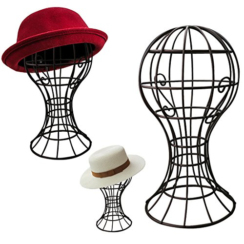 A-SZCXTOP Sturdy Metal Hat Stand Freestanding Wire Ball Cap Rack Wig Holder Storage Display Stand for Home Decoration