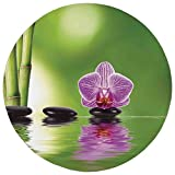Round Rug Mat Carpet,Spa Decor,Spa Floral Decorating Summertime Holidays Exotic Positiveness Lilac Bouquet,,Flannel Microfiber Non-slip Soft Absorbent,for Kitchen Floor Bathroom