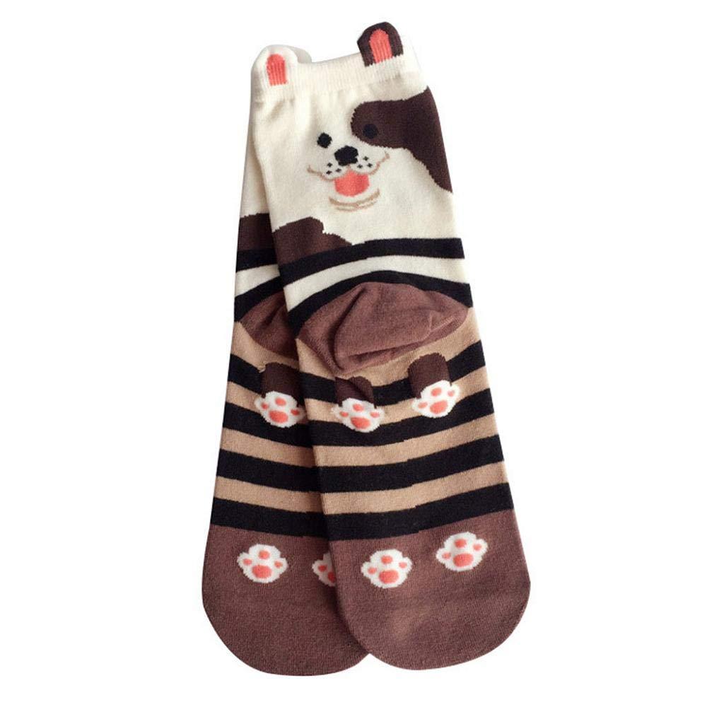 VJGOAL Mujeres moda casual de dibujos animados lindo perro de la raya de impresión cómodos calcetines de algodón transpirable calcetines de tubo medio 5 ...