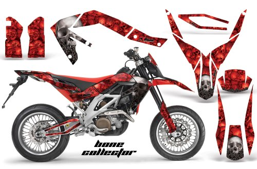 Aprilia SXV 4.5/5.5 2006-2015 MX Dirt Bike Graphic Kit Sticker Decals WITH Number Plates Bone Collector Red