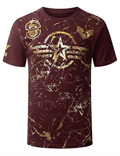 Burgundy Graphic (URBANCREWS Mens Hipster Hip Hop Crack Gold Foil Print T-Shirt Burgundy XLarge)